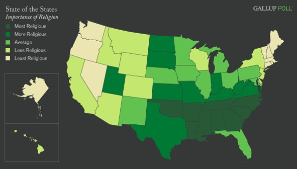 Religiousity in America by State 2008 Gallup Pool